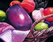 "Fruit and vegetables functional GLASS TRIVET - Market Basket 10 - Eggplant.   8""x 11"".  Free U.S. shipping."