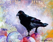 "Raven as master of the planets. The Stillness Gave No Token.  A decorative CERAMIC TILE wall  art  - 8"" x 10"".  Free U.S. shipping."