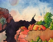 """Grand Canyon abstracted. Canyon 1.  A decorative CERAMIC TILE wall  art  -  8"""" x 10"""".  Free U.S. shipping."""