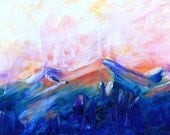 Impressionistic Colorado mountain sunrise scene - Pagosa Peak 6  - a fine art GICLEE print of one of my paintings. Free U.S. shipping.