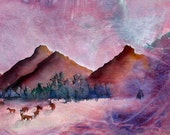Mountains of Colorado with elk in the foreground, a Storm Gathering in the background - a fine art GICLEE print. Free U.S. shipping.