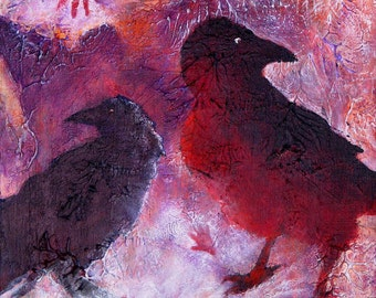 "Petro Raven.  A decorative CERAMIC TILE wall  art  - 8"" x 8"". An imaged petroglyph cave painting of ravens.  Free U.S. shipping."