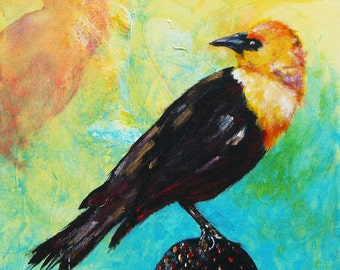 "Who's There.  Yellow-headed blackbird looking intensely over his shoulder. Decorative CERAMIC TILE  - 8"" x 8"".  Free U.S. shipping."