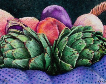 "CERAMIC TILE wall art. Market Basket 6 - Chokes. Artichokes and peaches - a lively combination.  - 8"" x 10"".  Free U.S. shipping."