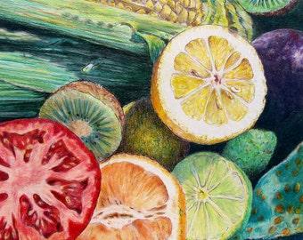 "CERAMIC TILE - decorative wall art. Market Basket 7 - Slice.  8"" x 10"".  Free U.S. shipping."