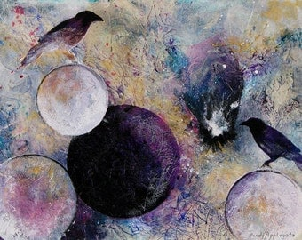 "Two blackbirds in their own universe of planets. Within the Distant Aidenn.  CERAMIC TILE wall  art  - 8"" x 10"".  Free U.S. shipping."