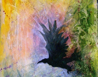 Raven in a beautifully colored and textured universe. A Stately Raven is a fine art GICLEE. Free U.S. shipping.