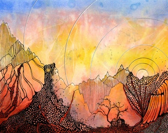 Abstract Colorado mountain scene.Mountain House 1 - is a fine art GICLEE print of one of my paintings. Free U.S. shipping.