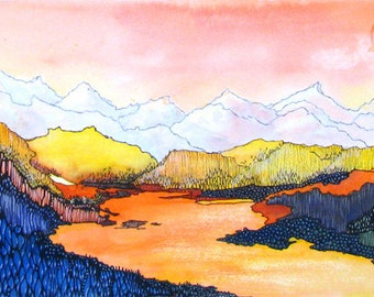 Sunset over a Colorado mountain lake - Wolf Lake 7   - a fine art GICLEE print of one of my paintings. Free U.S. shipping.