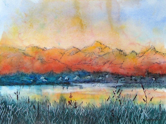"""Mountain and lake landscape with alpenglow. Pagosa Peak 9.  A decorative CERAMIC TILE wall  art  -  8"""" x 10"""".  Free U.S. shipping."""