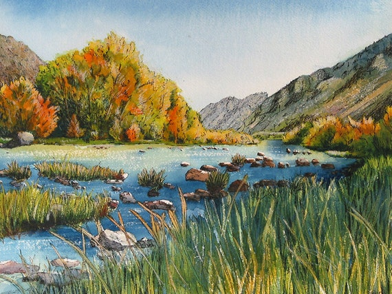 Peaceful Mountain Lake And Foliage Scene Quiet By