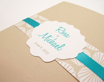 Beach Wedding Invitation, Sea Shell, Beach Wedding Invitation, Pocket fold - Sample
