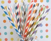 30 Paper Straws. PICK Your OWN Color(s) and Designs....Mix or Match....With Free DIY Printable Blank Pennants