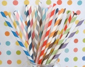 35 Paper Straws....PICK Your Color(s).....with FREE DIY Blank Printable Flags