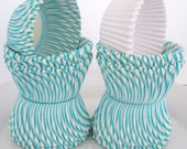 """CupCake Liners, 80 Count.....TURQUOISE / AQUA Stripe  CupCake Liners...40 Ct....with 40 """"FREE"""" Solid White Liners, Standard Size"""