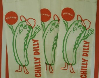 25 Pickle Bags....Chilly, Dilly Pickle Bags.....Loot Bags, Favor Bags....Retro...