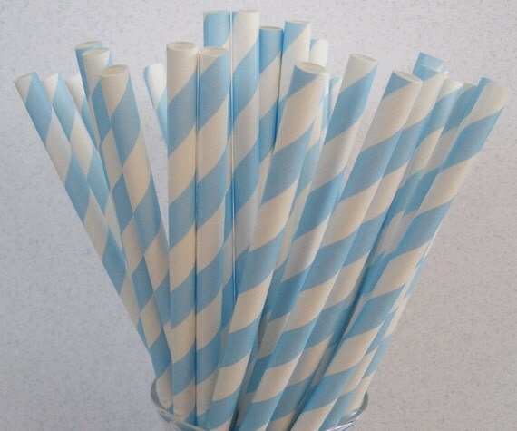 Reserved for Anna.....30 Powder Blue Stripe Paper Straws