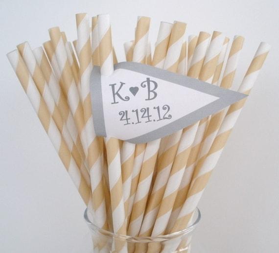 50 IVORY CREAM & White Stripe Paper Straws....W/ Printable Blank Flags.....Weddings, Birthdays, Parties....Retro...Candy Buffet....