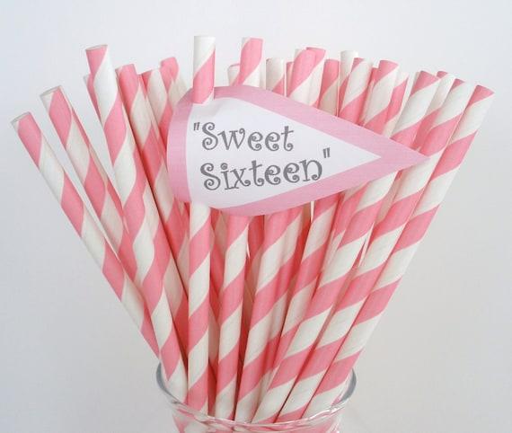 100 Pink Stripe Paper Straws....Bubble Gum Pink Stripe Paper Drinking Straws.....Cake Pop Sticks....Weddings, Birthdays, Retro, Vintage
