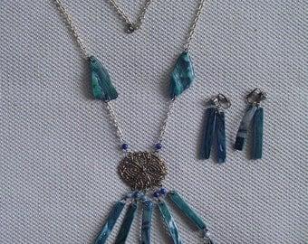 Necklace Earring Set,  Abalone Necklace Earring Set, Dangling Earrings, Silvertone Chain, Vintage Abalone Jewelry