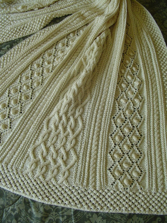 Diamond Afghan Knitting Pattern : Aran Knit Afghan Handknit Afghan Bobbles and diamonds