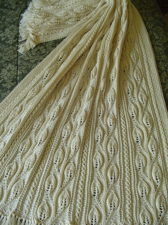Aran Afghan Knitting Patterns : Aran Knit Afghan Handknit afghan overall leaf pattern