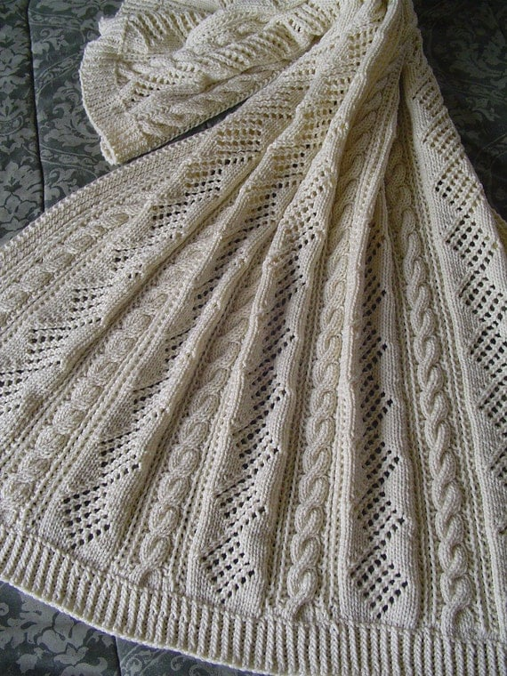Aran Knit Afghan Handknit afghan or laprobe For by Ednascloset