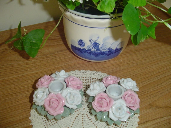 Candle Holders - Pink & White Roses - Charming