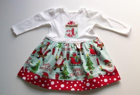 Girl's Christmas T-Shirt Dress - Santa Claus with Aqua and Red Custom Monogram Applique