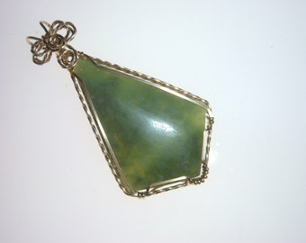 Wire Wrapped Wyoming Jade Gold Pendant