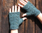 Jade Green Wool Fingerless Gloves with lace detail