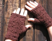 Chocolate Brown Fingerless Gloves with lace detail