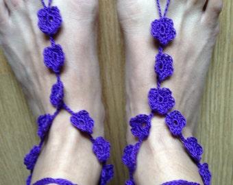Barefoot Sandals - Purple Flower
