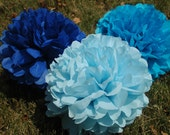 Baby boy shower decorations/ Tissue paper pom poms/ boy birthday party decor/ It's a boy  - 12 pcs.  party pom package + FREE CONFETTI!
