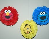 Sesame Street decorations, Elmo decorations, Cookie Monster decorations, Birthday party, FREE CONFETTI! - Tissue pom pom - party decorations