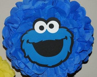 Cookie Monster Party, Sesame Street Birthday, Birthday decoration, Cookie party, Tissue pom pom - Birthday, shower decoration