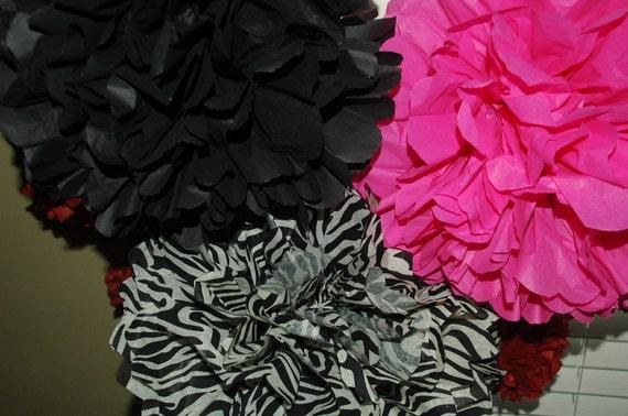 Bachelorette decorations -FREE CONFETTI!! - Hot Pink, zebra pom decor -birthday, bridal shower, sweet sixteen tissue poms -6 medium pom pack