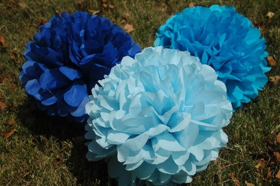 Paper pom poms/ Baby boy/ Shower decorations/ Tissue paper pom poms/birthday party/ It's a boy  -12 pcs.  party pom package + FREE CONFETTI!