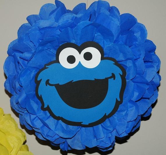 Cookie Monster Sesame Street - Tissue pom pom - Birthday, shower decoration
