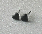 Vintage Black Matte Tiny Heart Stud Earrings