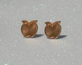 Vintage Copper Colored Metal Apple Stud Earrings