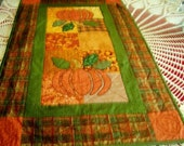 Appliqued Pumpkin Fall Table Runner Large Quilted Thanksgiving Patchwork Autumn Orange Gold Green Treasury Item