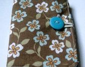 Tea Wallet, Credit Card & ID Holder, Business Card Case - Brown Floral Motif