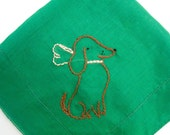 Vintage Handkerchief - Darling Dachshunds - Green