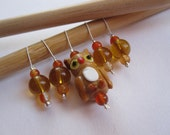 Knitting Stitch Markers Brown Orange Autumn Forest Woodland Owl Glass Beads