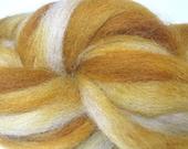 Carmel Delight Hand Dyed Alpaca Roving for Spinning or Fiber Arts