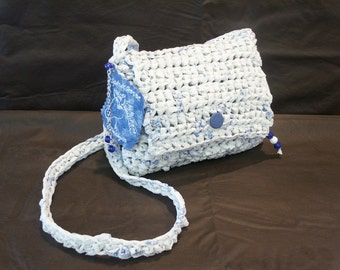 Blue & White Recycled Plastic Bags Crossover Style Purse by My Spirit Horse Designs
