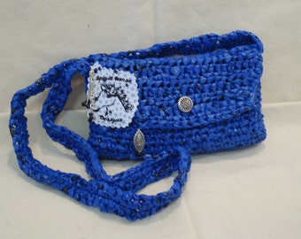 Blue Recycled Plastic Bags Crossover-Style Purse by My Spirit Horse Designs