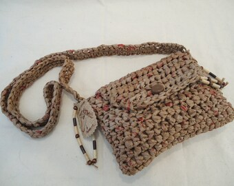Brown Recycled Bags Crossover-Style Purse by My Spirit Horse Designs