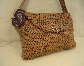 Brown Recycled Bags Messenger-Style Purse by My Spirit Horse Designs